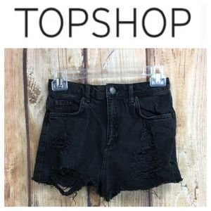 💸TopShop Black High Waist MOM cutoff short sz 4
